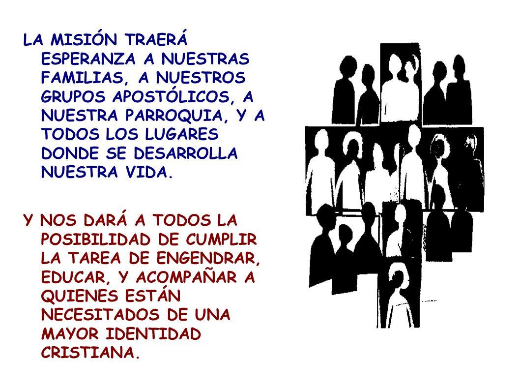 LA MISIÓN TRAERÁ ESPERANZA A NUESTRAS FAMILIAS, A NUESTROS GRUPOS APOSTÓLICOS, A NUESTRA PARROQUIA, Y A TODOS LOS LUGARES DONDE SE DESARROLLA NUESTRA