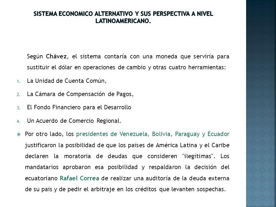 Según Chávez, el sistema contaría con una moneda que serviría para sustituir el dólar en operaciones de cambio y otras cuatro herramientas: 1. La Unid