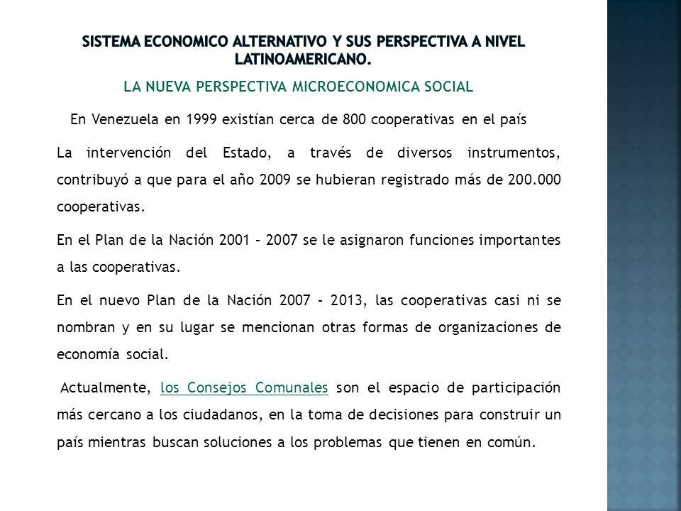 LA NUEVA PERSPECTIVA MICROECONOMICA SOCIAL En Venezuela en 1999 existían cerca de 800 cooperativas en el país La intervención del Estado, a través de