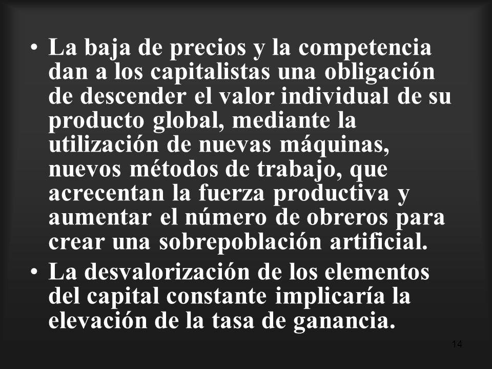 14 La baja de precios y la competencia dan a los capitalistas una obligación de descender el valor individual de su producto global, mediante la utili