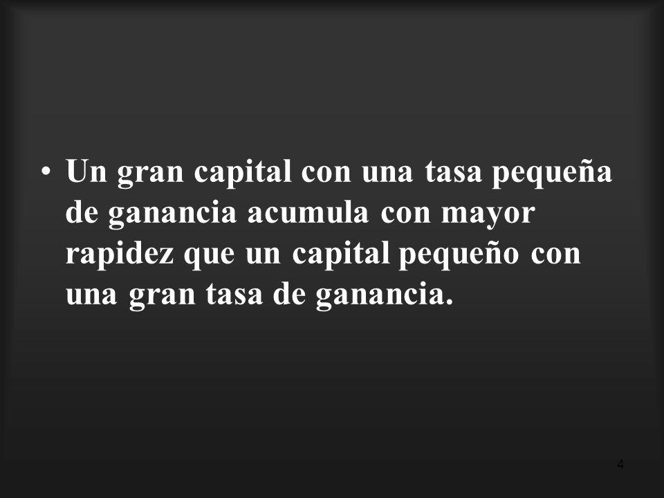 4 Un gran capital con una tasa pequeña de ganancia acumula con mayor rapidez que un capital pequeño con una gran tasa de ganancia.