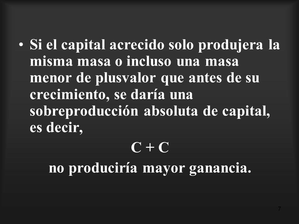 7 Si el capital acrecido solo produjera la misma masa o incluso una masa menor de plusvalor que antes de su crecimiento, se daría una sobreproducción