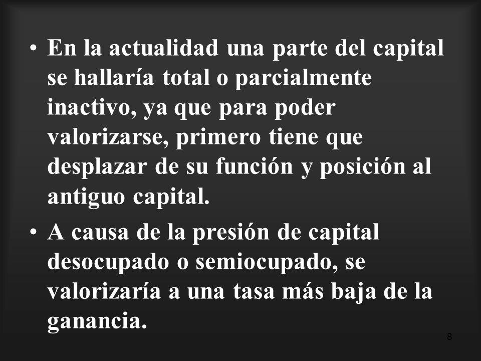 8 En la actualidad una parte del capital se hallaría total o parcialmente inactivo, ya que para poder valorizarse, primero tiene que desplazar de su f