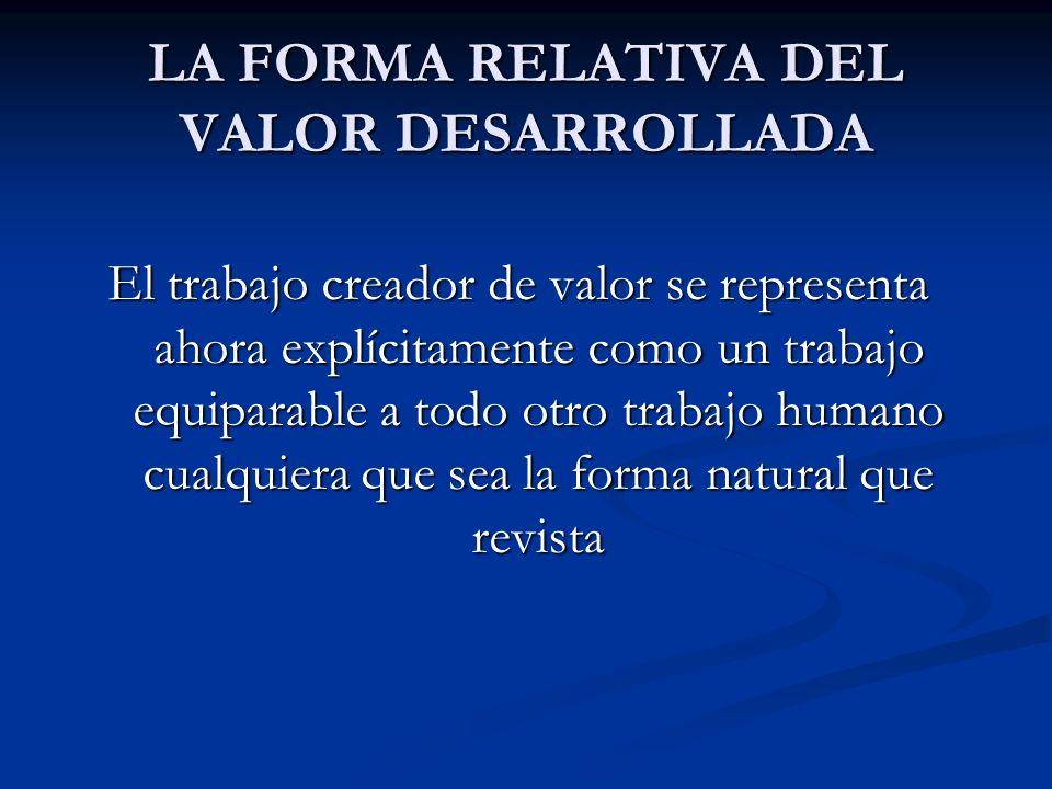 LA FORMA RELATIVA DEL VALOR DESARROLLADA El trabajo creador de valor se representa ahora explícitamente como un trabajo equiparable a todo otro trabaj