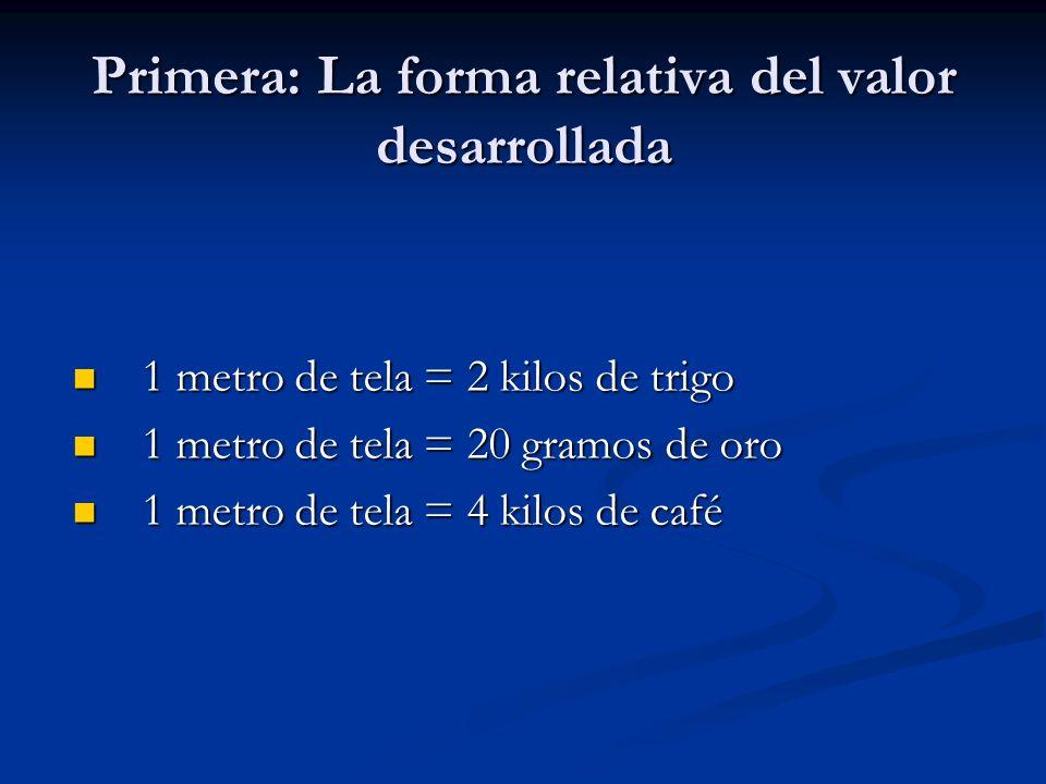 Primera: La forma relativa del valor desarrollada 1 metro de tela = 2 kilos de trigo 1 metro de tela = 2 kilos de trigo 1 metro de tela = 20 gramos de