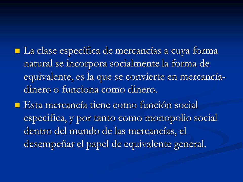 La clase específica de mercancías a cuya forma natural se incorpora socialmente la forma de equivalente, es la que se convierte en mercancía- dinero o