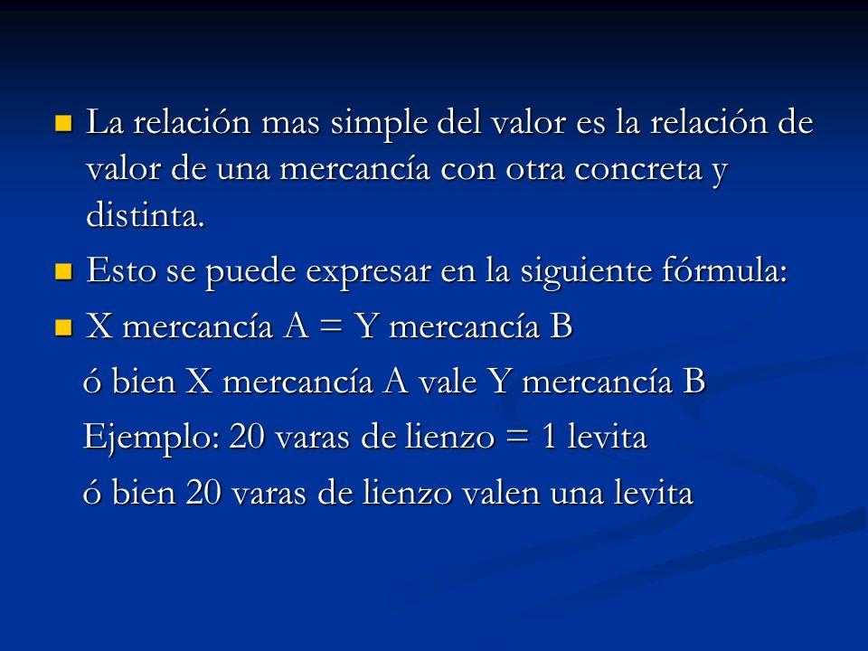 La relación mas simple del valor es la relación de valor de una mercancía con otra concreta y distinta. La relación mas simple del valor es la relació