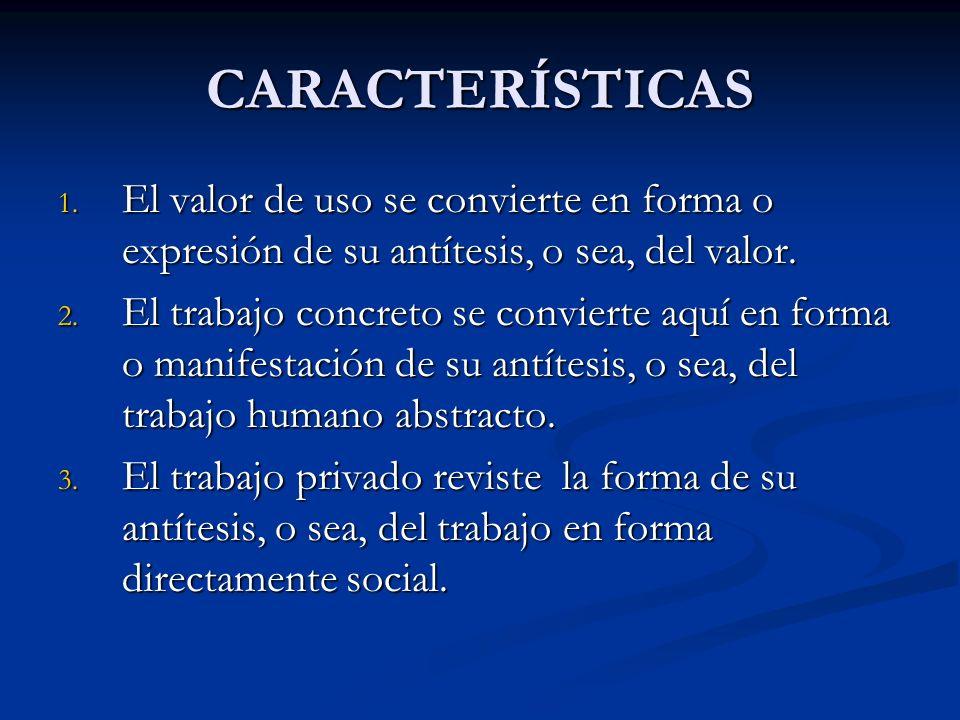 CARACTERÍSTICAS 1. El valor de uso se convierte en forma o expresión de su antítesis, o sea, del valor. 2. El trabajo concreto se convierte aquí en fo