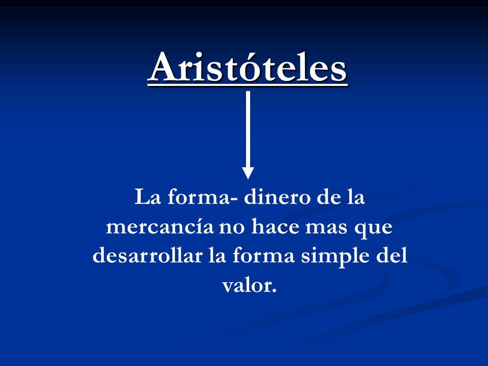 Aristóteles La forma- dinero de la mercancía no hace mas que desarrollar la forma simple del valor.