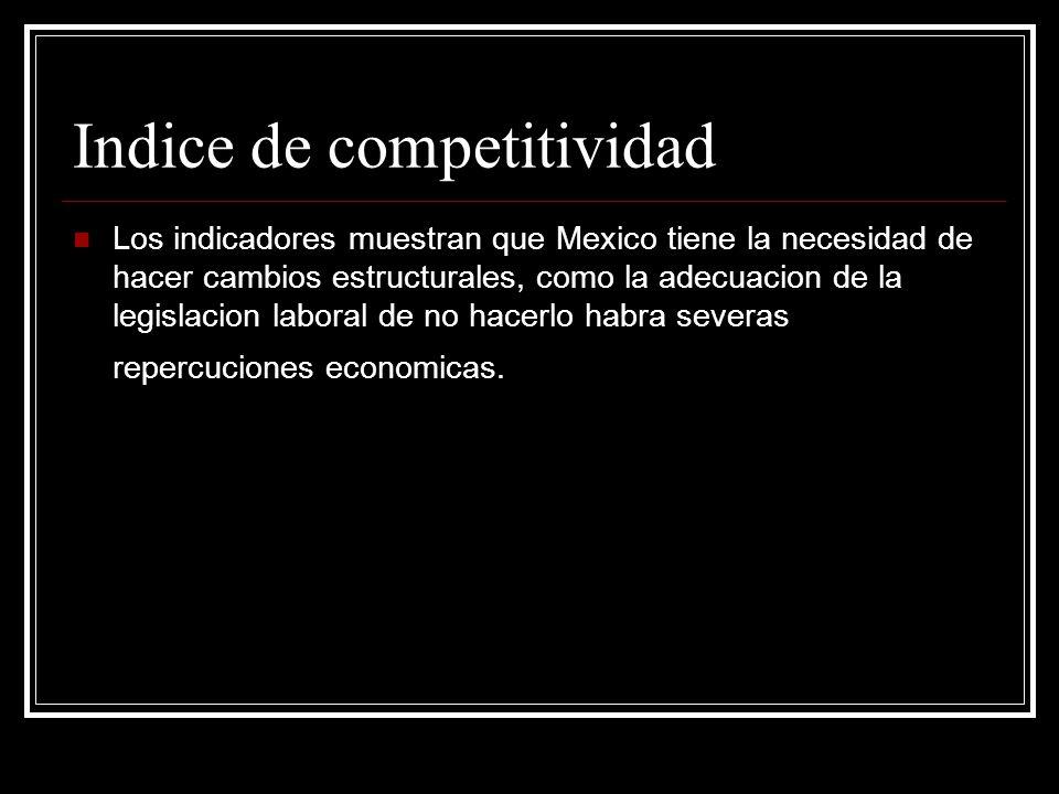 Indice de competitividad Los indicadores muestran que Mexico tiene la necesidad de hacer cambios estructurales, como la adecuacion de la legislacion l