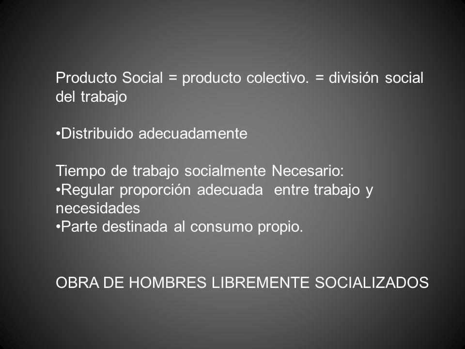 Producto Social = producto colectivo. = división social del trabajo Distribuido adecuadamente Tiempo de trabajo socialmente Necesario: Regular proporc