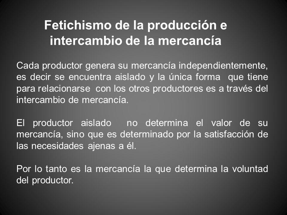 Cada productor genera su mercancía independientemente, es decir se encuentra aislado y la única forma que tiene para relacionarse con los otros produc
