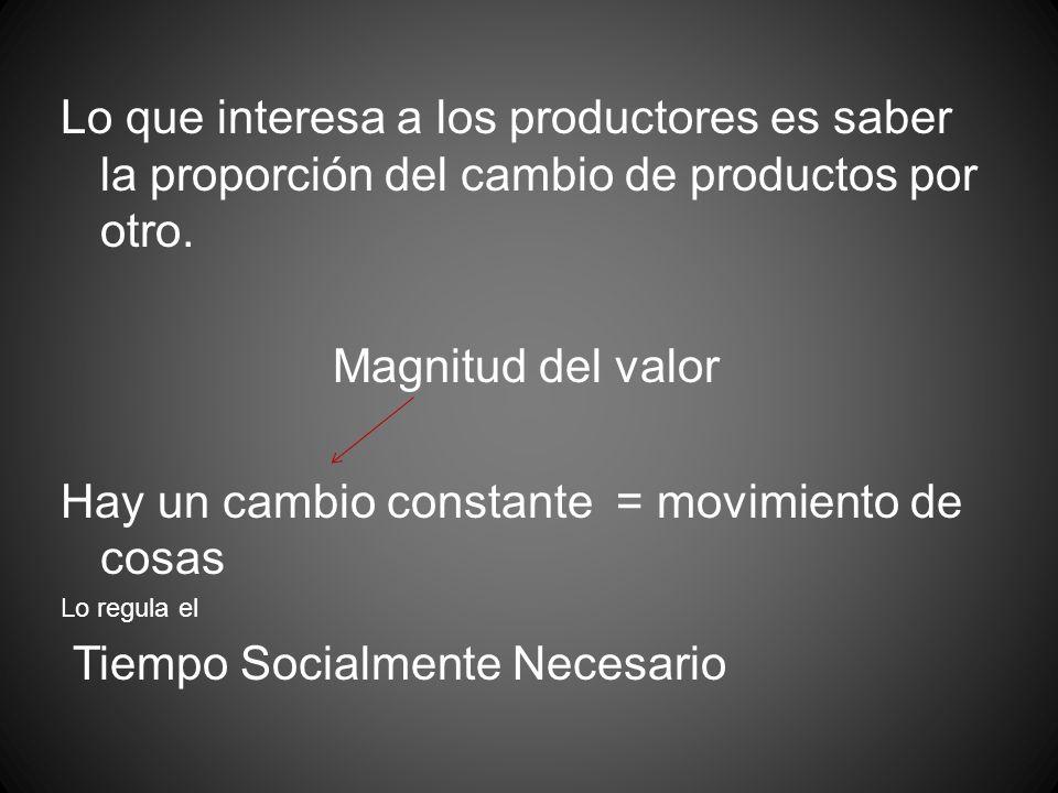 Lo que interesa a los productores es saber la proporción del cambio de productos por otro. Magnitud del valor Hay un cambio constante = movimiento de
