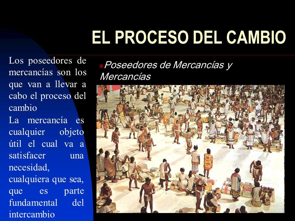 EL PROCESO DEL CAMBIO Poseedores de Mercancías y Mercancías Los poseedores de mercancías son los que van a llevar a cabo el proceso del cambio La merc