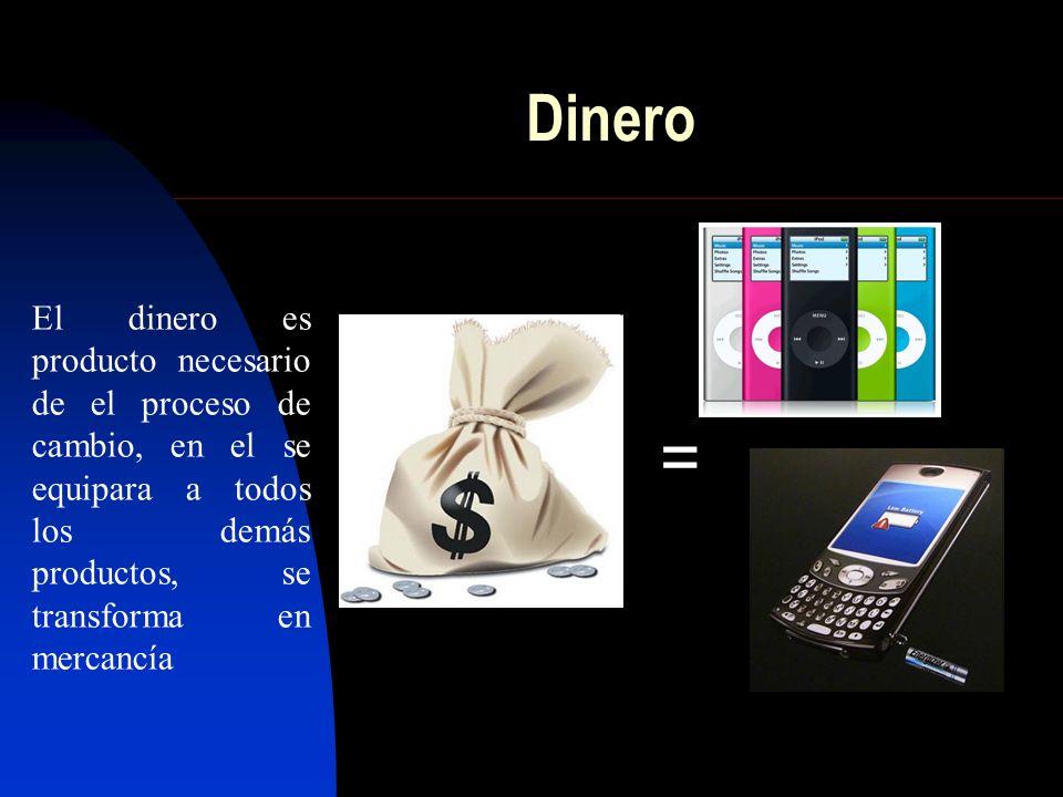 El dinero es producto necesario de el proceso de cambio, en el se equipara a todos los demás productos, se transforma en mercancía = Dinero