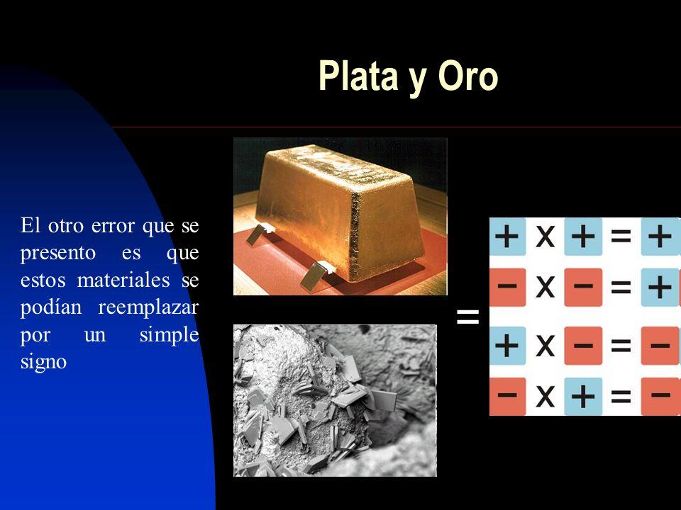 Plata y Oro El otro error que se presento es que estos materiales se podían reemplazar por un simple signo =