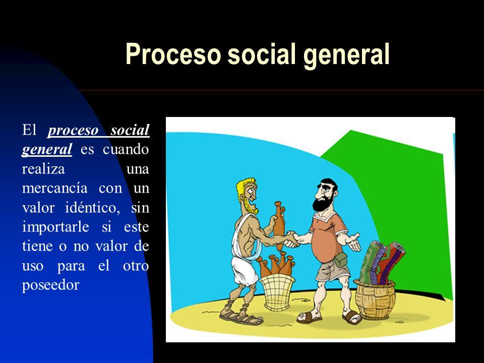 Proceso social general El proceso social general es cuando realiza una mercancía con un valor idéntico, sin importarle si este tiene o no valor de uso