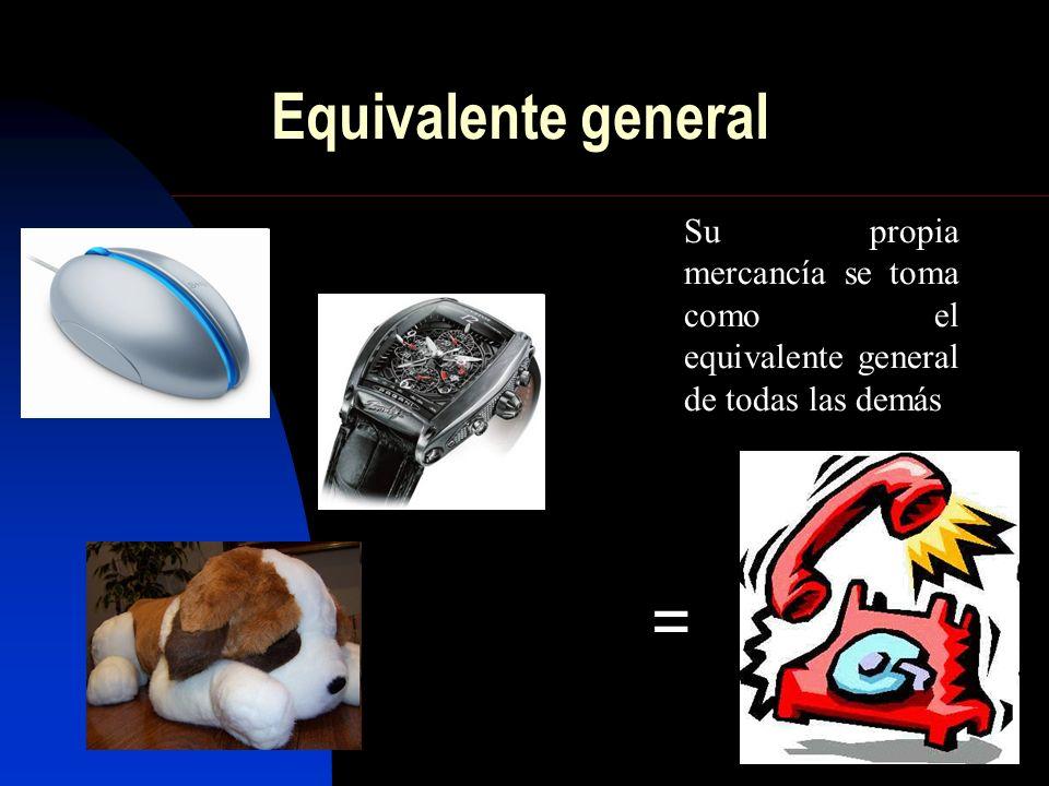 Equivalente general = Su propia mercancía se toma como el equivalente general de todas las demás