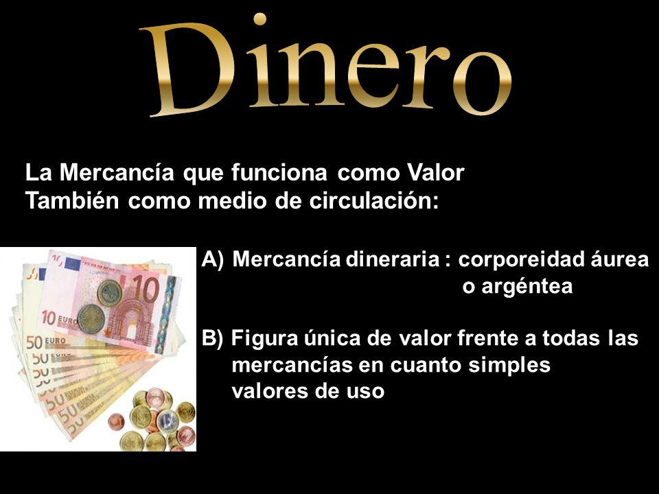 La Mercancía que funciona como Valor También como medio de circulación: A) Mercancía dineraria : corporeidad áurea o argéntea B) Figura única de valor