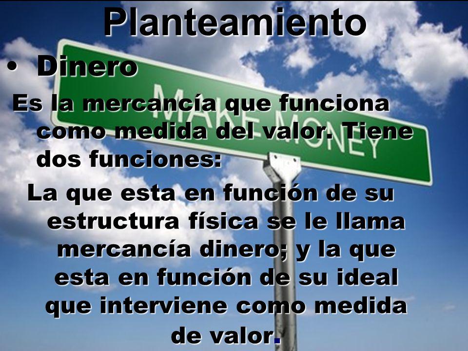 Planteamiento DineroDinero Es la mercancía que funciona como medida del valor. Tiene dos funciones: Es la mercancía que funciona como medida del valor