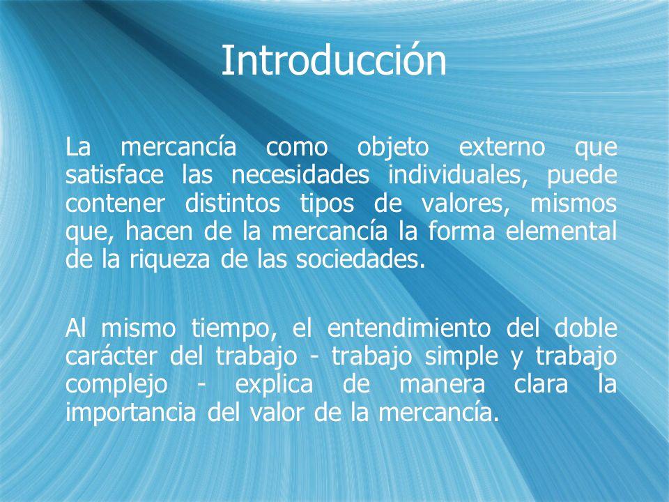 Introducción La mercancía como objeto externo que satisface las necesidades individuales, puede contener distintos tipos de valores, mismos que, hacen