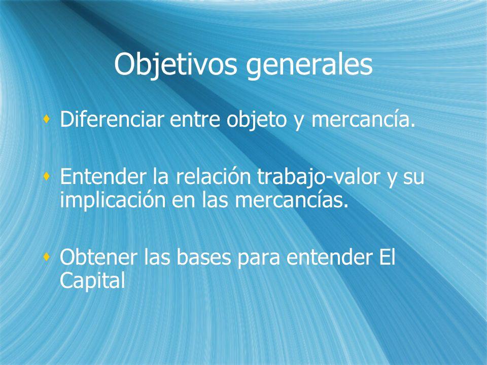 Objetivos generales Diferenciar entre objeto y mercancía. Entender la relación trabajo-valor y su implicación en las mercancías. Obtener las bases par
