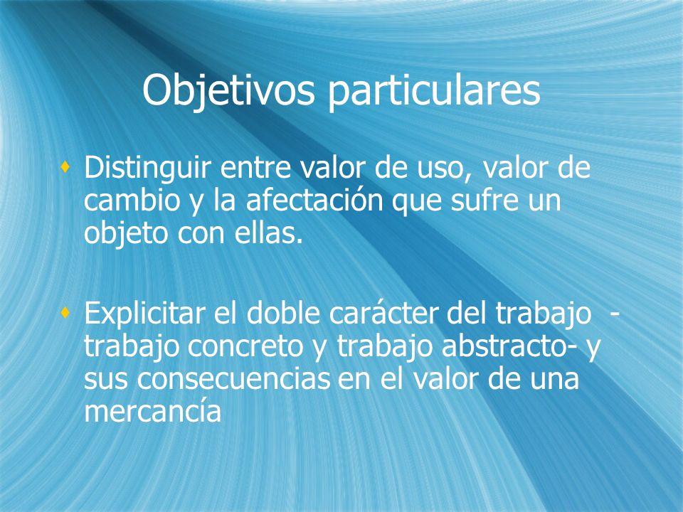 Objetivos particulares Distinguir entre valor de uso, valor de cambio y la afectación que sufre un objeto con ellas. Explicitar el doble carácter del