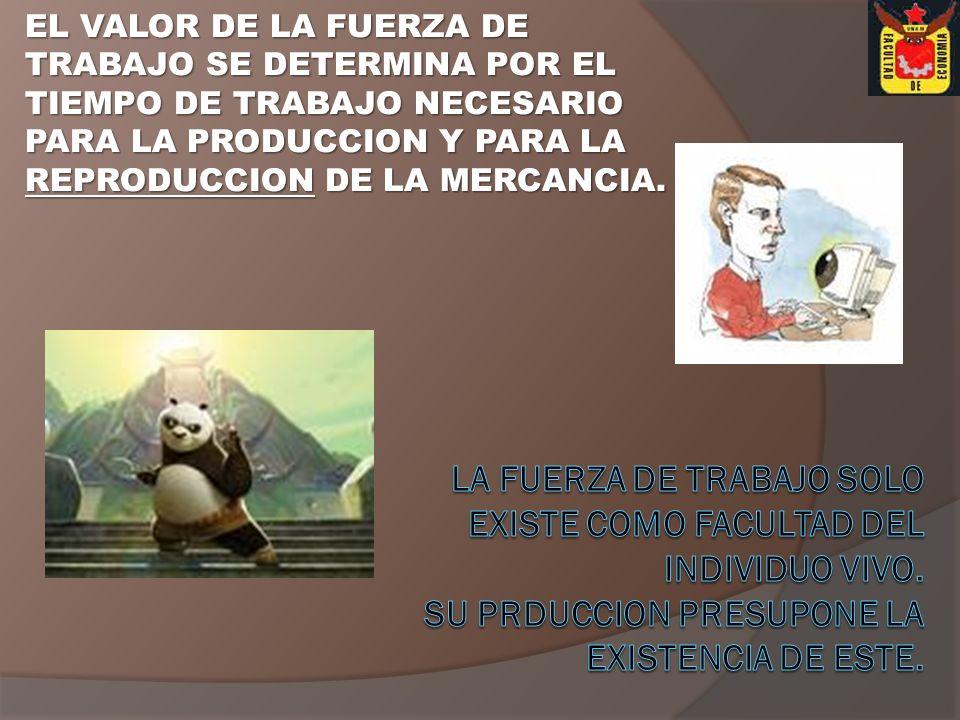 EL VALOR DE LA FUERZA DE TRABAJO SE DETERMINA POR EL TIEMPO DE TRABAJO NECESARIO PARA LA PRODUCCION Y PARA LA REPRODUCCION DE LA MERCANCIA.