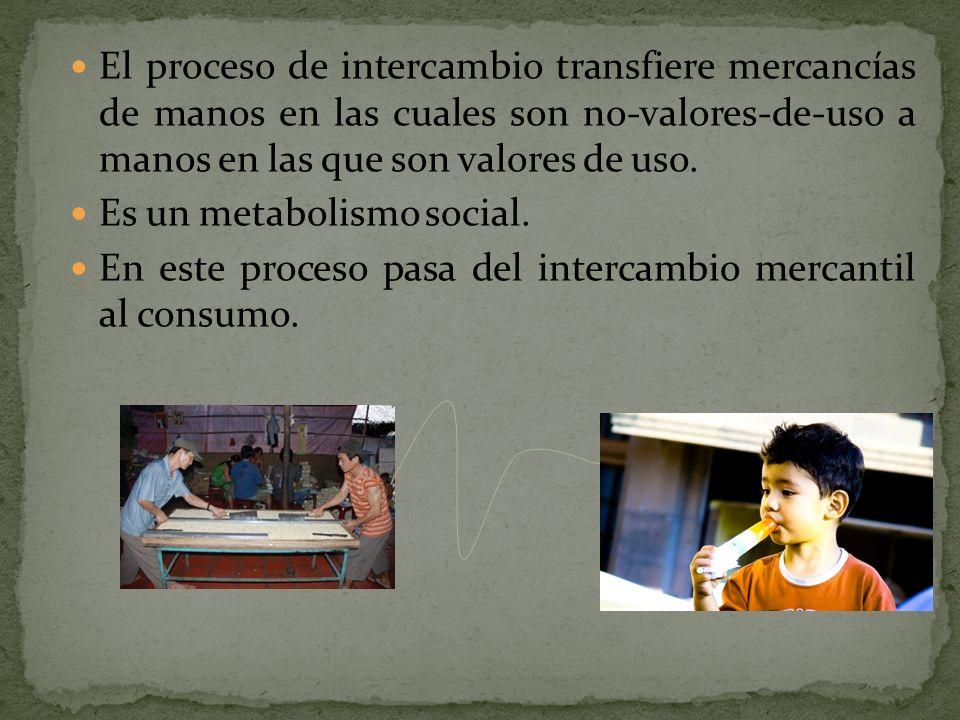 El proceso de intercambio transfiere mercancías de manos en las cuales son no-valores-de-uso a manos en las que son valores de uso. Es un metabolismo
