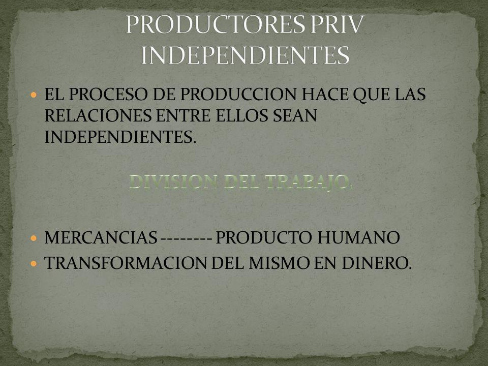 EL PROCESO DE PRODUCCION HACE QUE LAS RELACIONES ENTRE ELLOS SEAN INDEPENDIENTES. MERCANCIAS -------- PRODUCTO HUMANO TRANSFORMACION DEL MISMO EN DINE