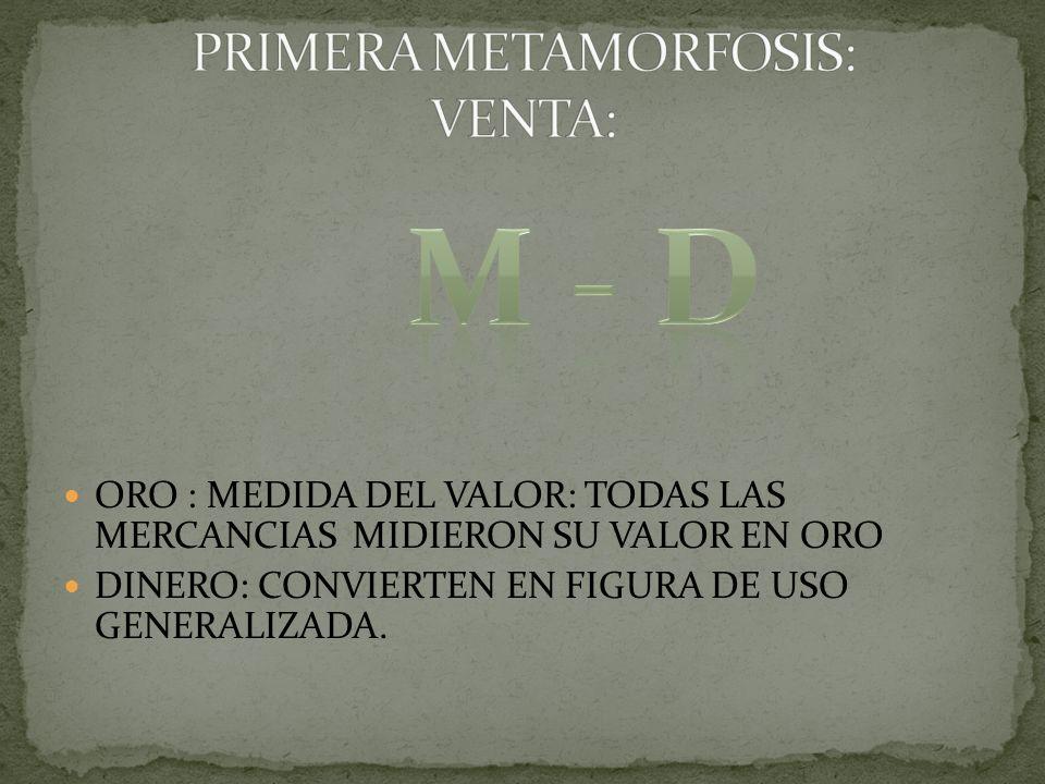 ORO : MEDIDA DEL VALOR: TODAS LAS MERCANCIAS MIDIERON SU VALOR EN ORO DINERO: CONVIERTEN EN FIGURA DE USO GENERALIZADA.