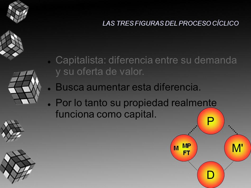 Capitalista: diferencia entre su demanda y su oferta de valor. Busca aumentar esta diferencia. Por lo tanto su propiedad realmente funciona como capit