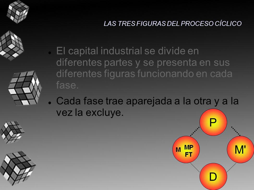 El capital industrial se divide en diferentes partes y se presenta en sus diferentes figuras funcionando en cada fase. Cada fase trae aparejada a la o