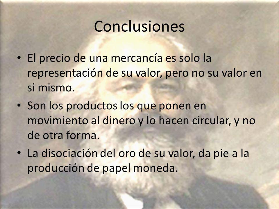 Conclusiones El precio de una mercancía es solo la representación de su valor, pero no su valor en si mismo. Son los productos los que ponen en movimi