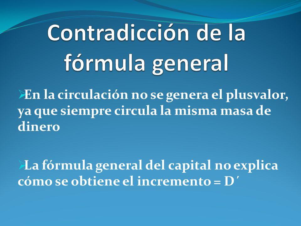 En la circulación no se genera el plusvalor, ya que siempre circula la misma masa de dinero La fórmula general del capital no explica cómo se obtiene