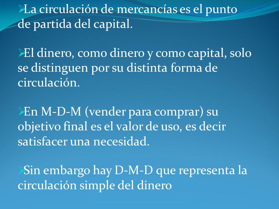 La circulación de mercancías es el punto de partida del capital. El dinero, como dinero y como capital, solo se distinguen por su distinta forma de ci