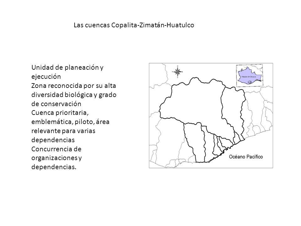 Las cuencas Copalita-Zimatán-Huatulco Unidad de planeación y ejecución Zona reconocida por su alta diversidad biológica y grado de conservación Cuenca prioritaria, emblemática, piloto, área relevante para varias dependencias Concurrencia de organizaciones y dependencias.