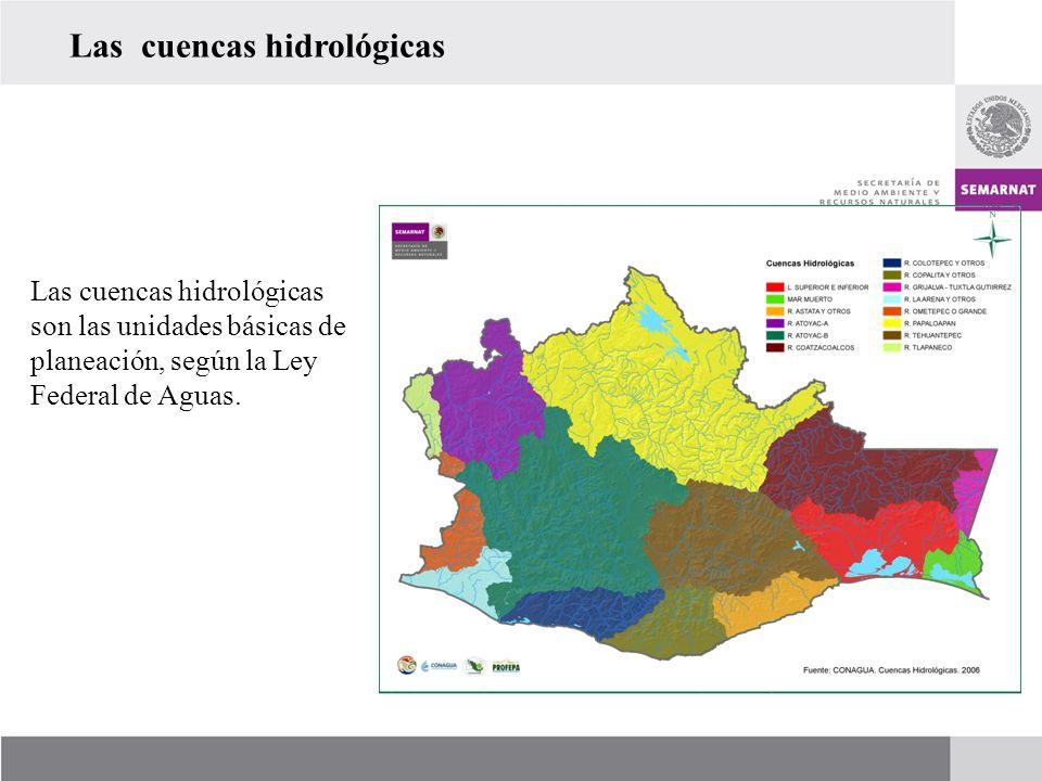 Las cuencas hidrológicas Las cuencas hidrológicas son las unidades básicas de planeación, según la Ley Federal de Aguas.