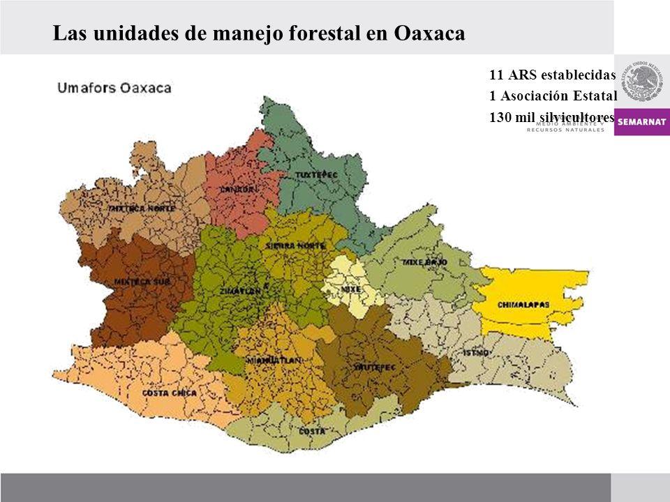 Las unidades de manejo forestal en Oaxaca 11 ARS establecidas 1 Asociación Estatal 130 mil silvicultores