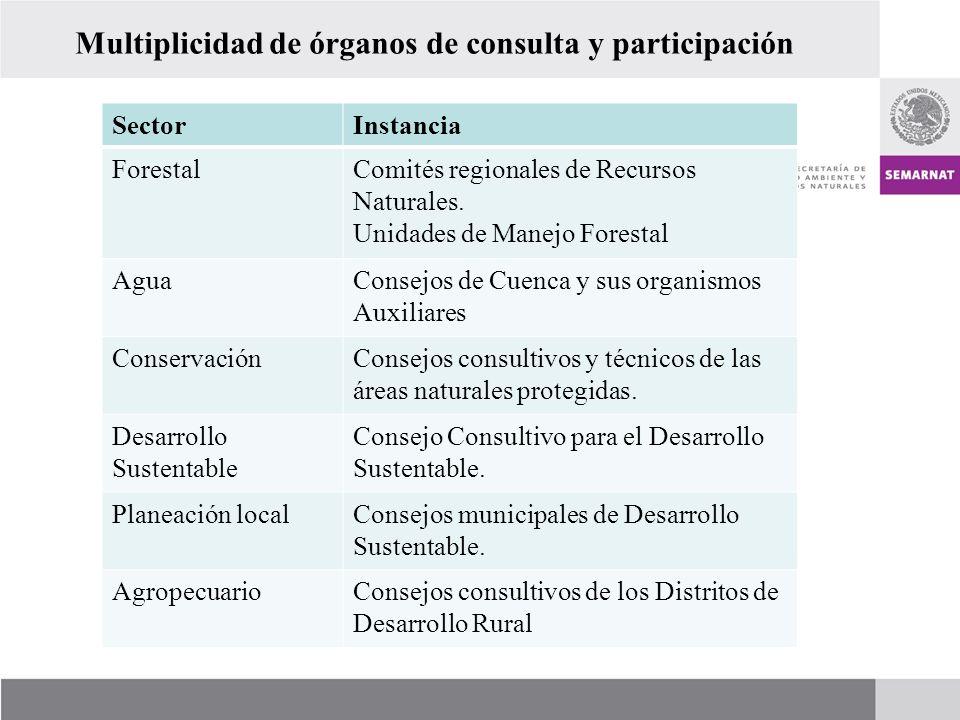 Multiplicidad de órganos de consulta y participación SectorInstancia ForestalComités regionales de Recursos Naturales. Unidades de Manejo Forestal Agu