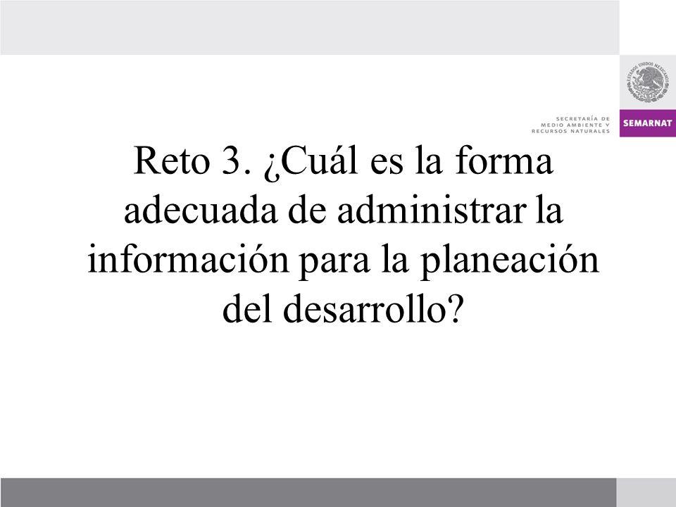 Reto 3. ¿Cuál es la forma adecuada de administrar la información para la planeación del desarrollo?