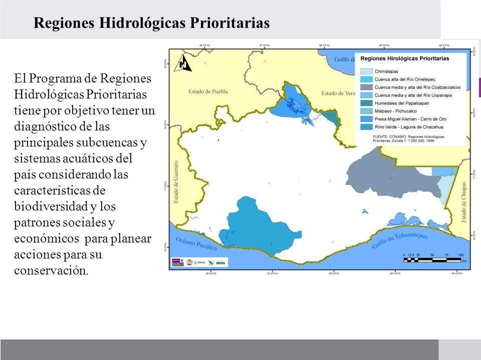 El Programa de Regiones Hidrológicas Prioritarias tiene por objetivo tener un diagnóstico de las principales subcuencas y sistemas acuáticos del país