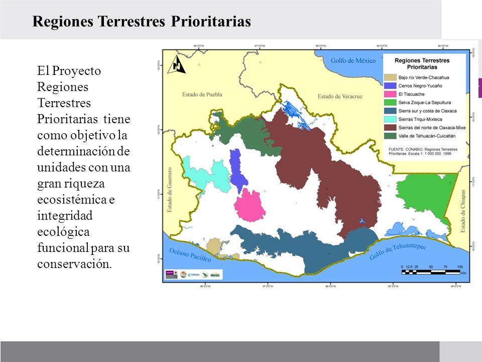 El Proyecto Regiones Terrestres Prioritarias tiene como objetivo la determinación de unidades con una gran riqueza ecosistémica e integridad ecológica