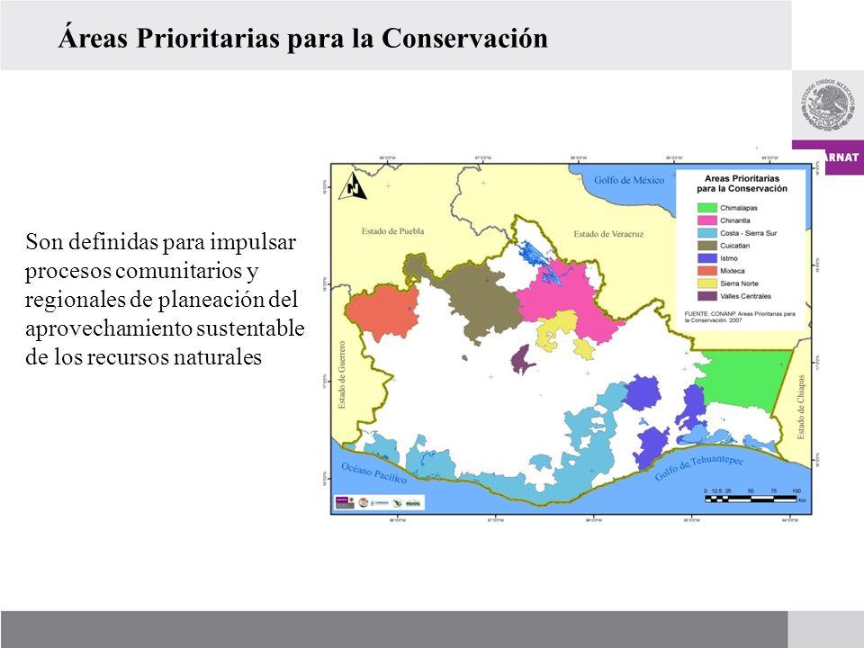 Áreas Prioritarias para la Conservación Son definidas para impulsar procesos comunitarios y regionales de planeación del aprovechamiento sustentable d