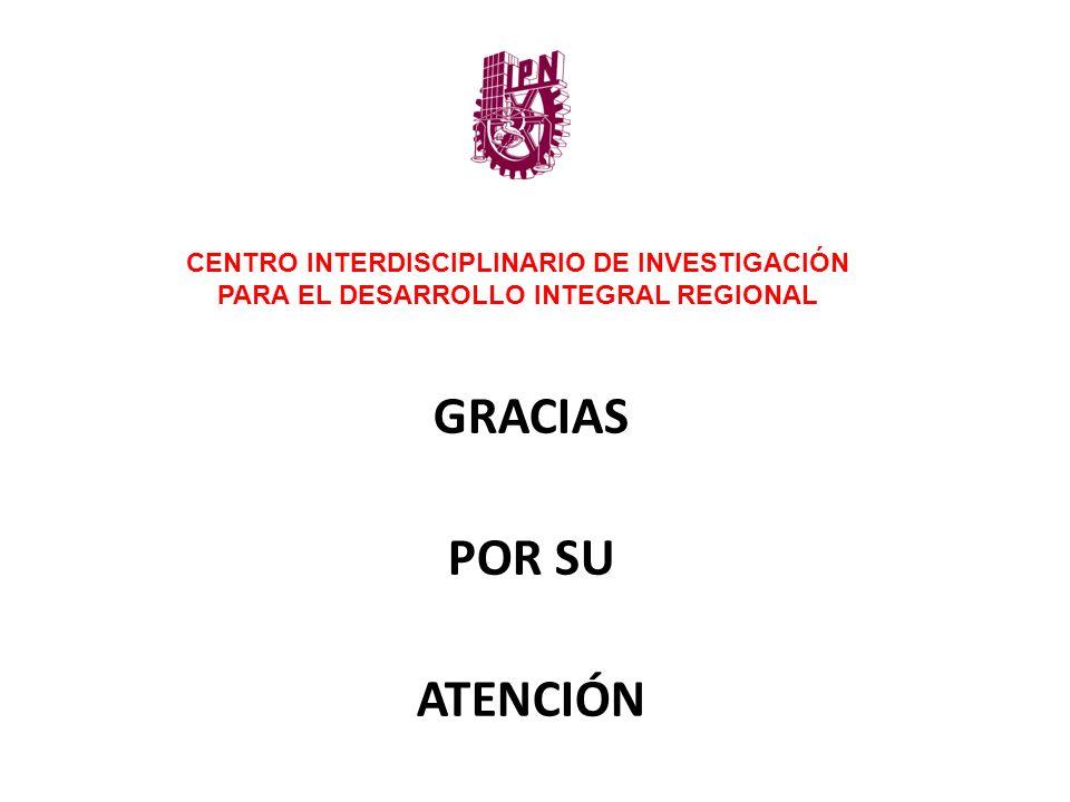 GRACIAS POR SU ATENCIÓN CENTRO INTERDISCIPLINARIO DE INVESTIGACIÓN PARA EL DESARROLLO INTEGRAL REGIONAL