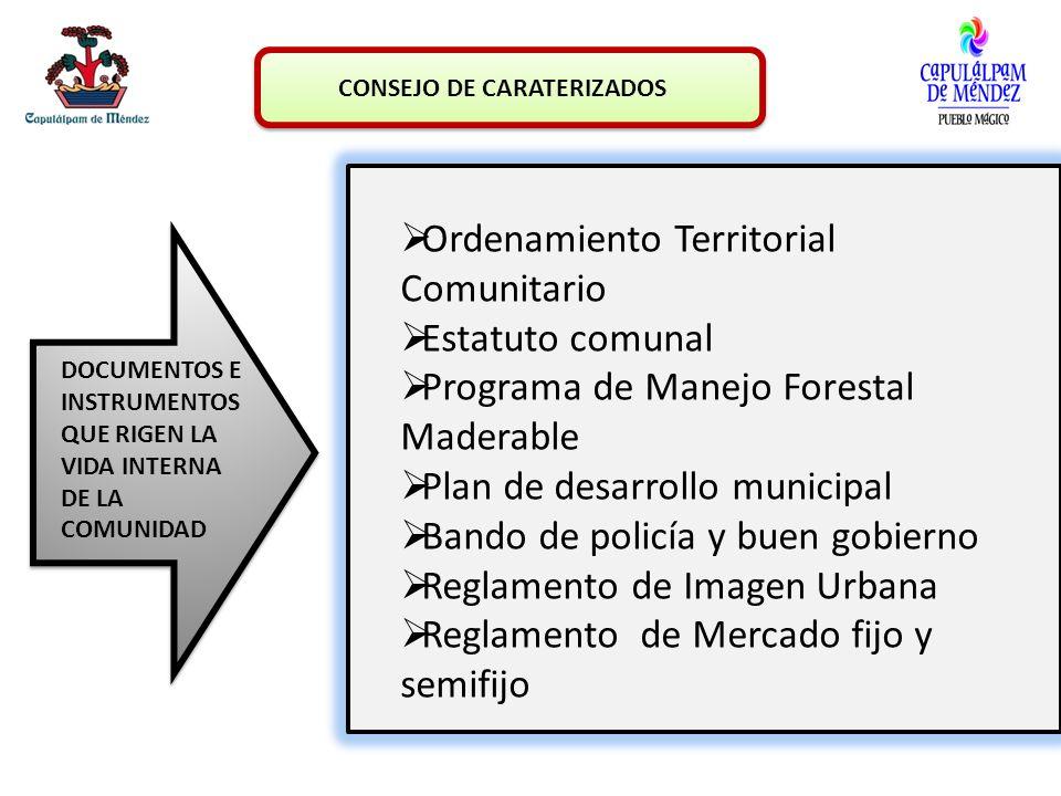 CONSEJO DE CARATERIZADOS Ordenamiento Territorial Comunitario Estatuto comunal Programa de Manejo Forestal Maderable Plan de desarrollo municipal Band