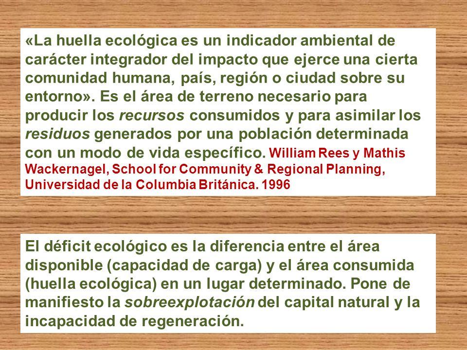 «La huella ecológica es un indicador ambiental de carácter integrador del impacto que ejerce una cierta comunidad humana, país, región o ciudad sobre