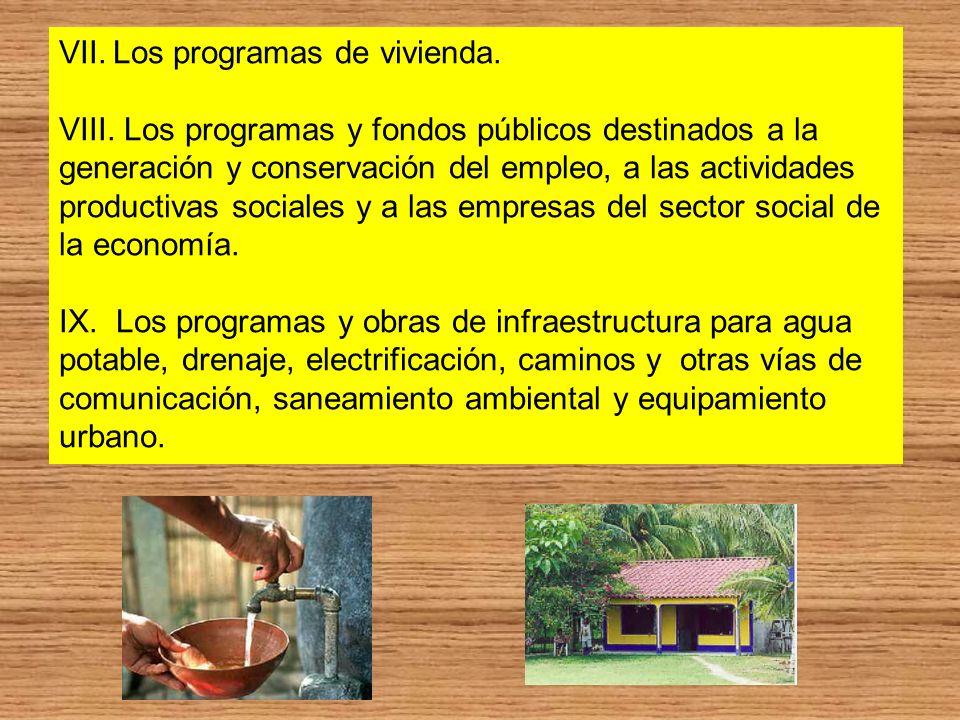 VII.Los programas de vivienda. VIII. Los programas y fondos públicos destinados a la generación y conservación del empleo, a las actividades productiv
