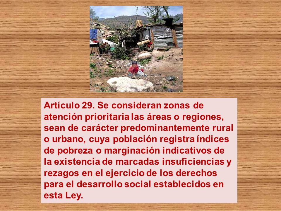 Artículo 29. Se consideran zonas de atención prioritaria las áreas o regiones, sean de carácter predominantemente rural o urbano, cuya población regis
