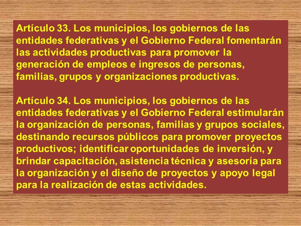Artículo 33. Los municipios, los gobiernos de las entidades federativas y el Gobierno Federal fomentarán las actividades productivas para promover la